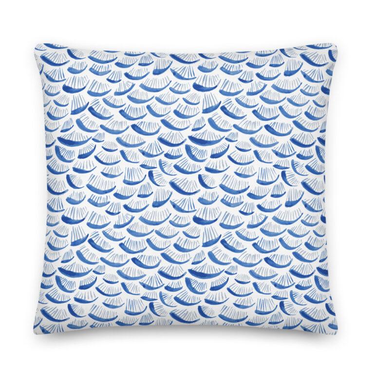 blue watercolor pillow