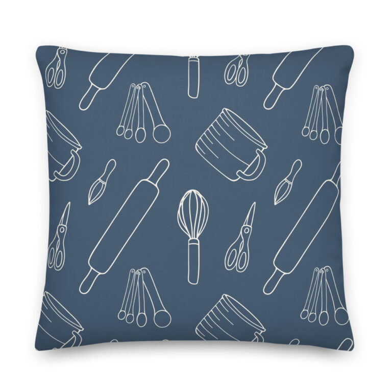 baking utensils navy pillow