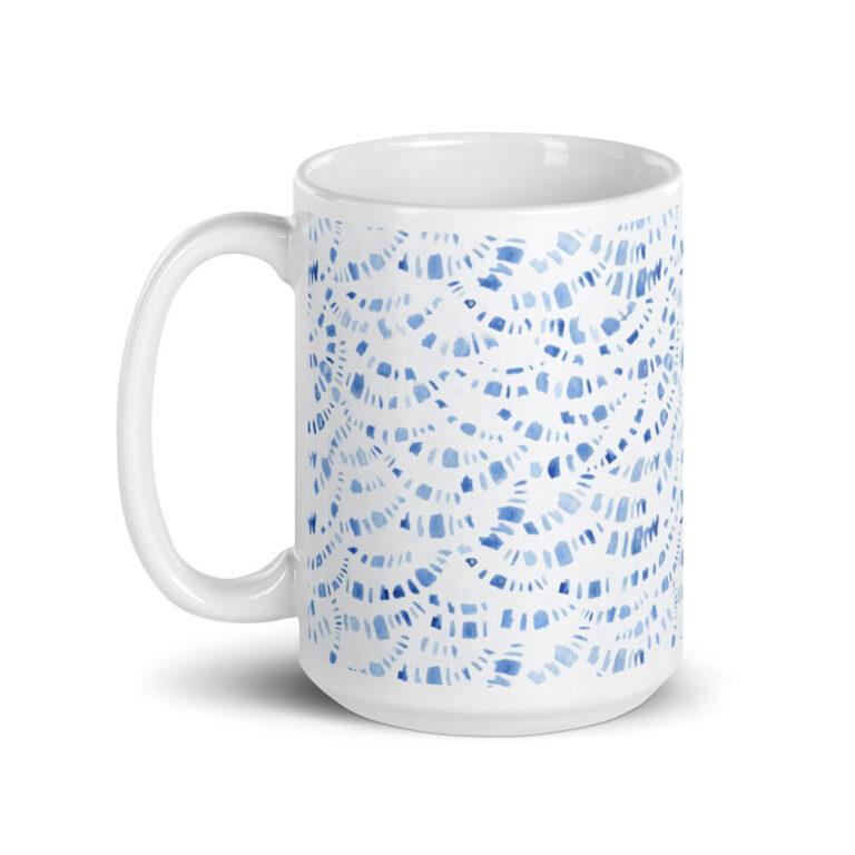 blue boho mug