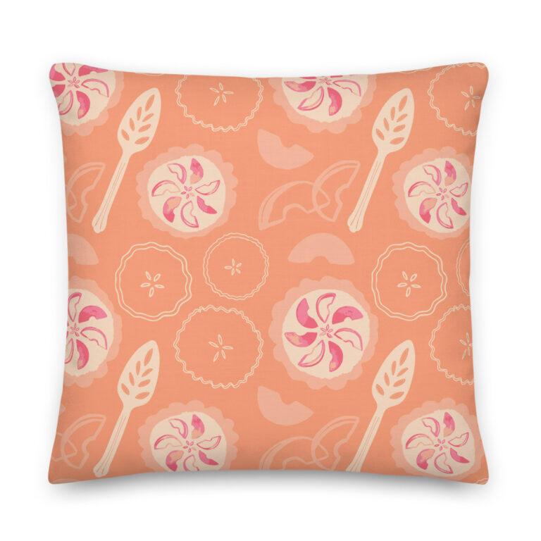 orange peach pie pillow
