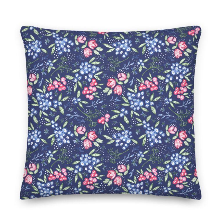 blueberry flower pillow