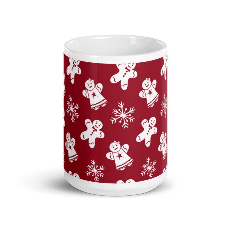 red gingerbread people mug