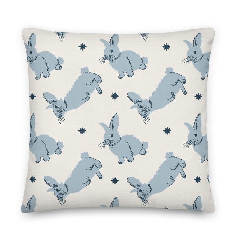 rabbit pillow blue