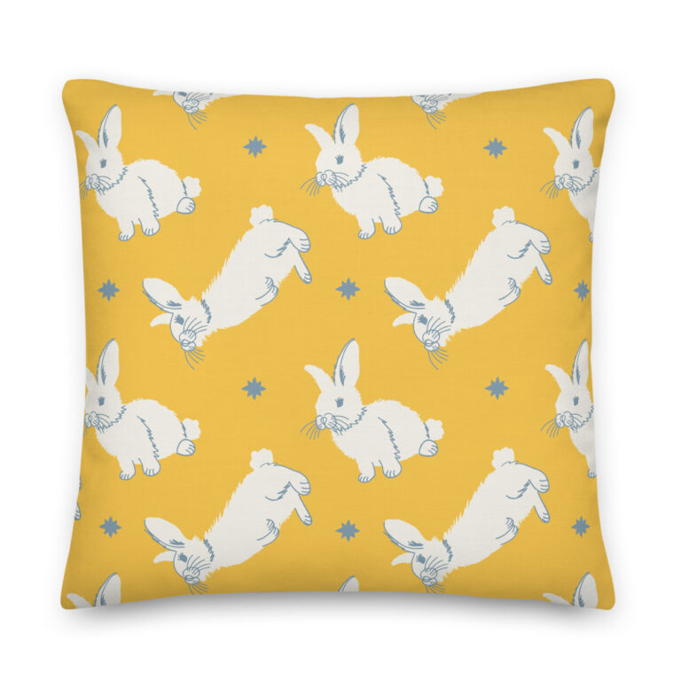 rabbit pillow yellow
