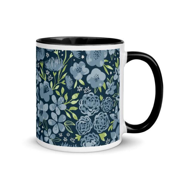 navy flower mug