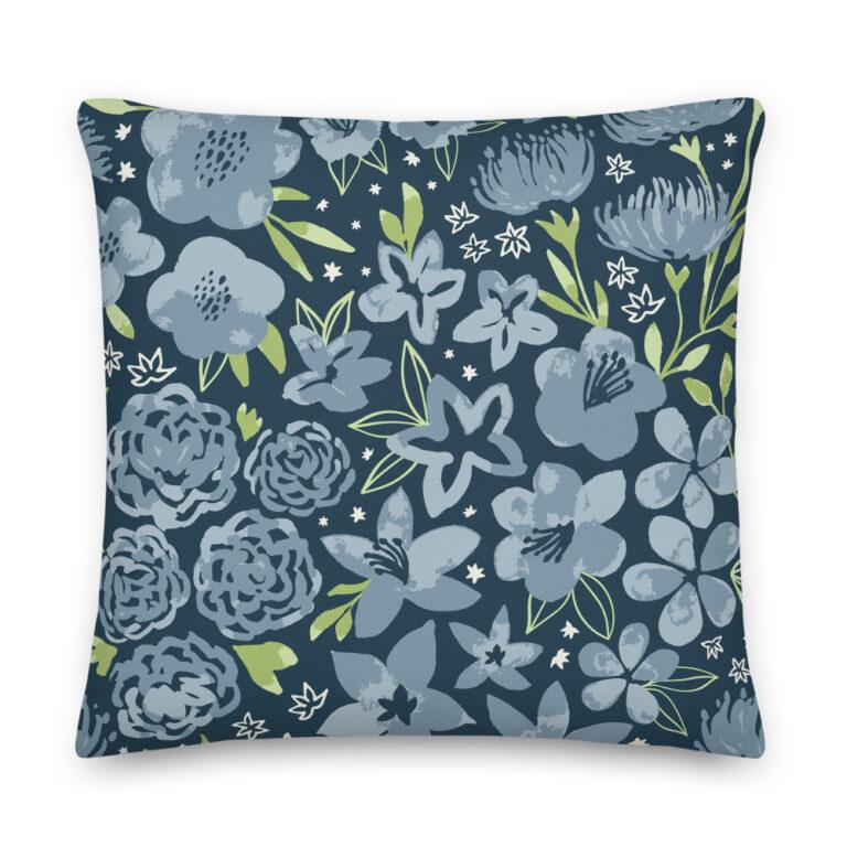 navy flower pillow