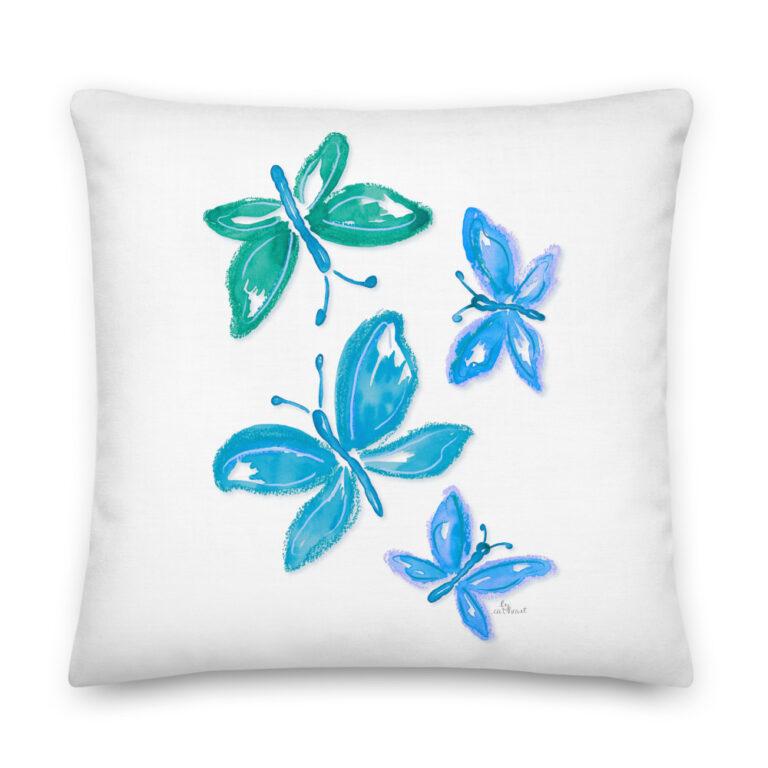 blue butterfly pillow