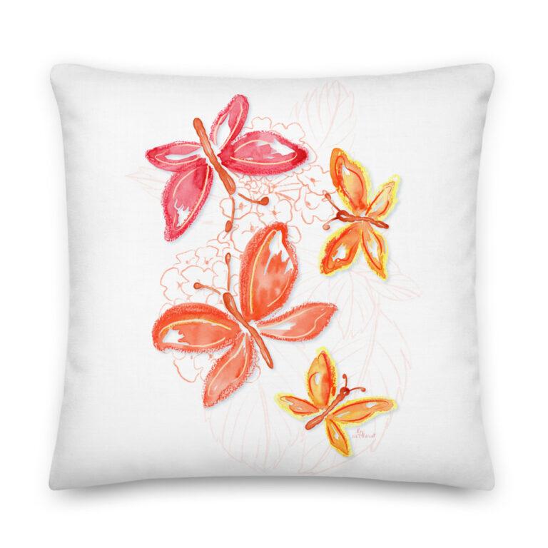 orange butterfly pillow