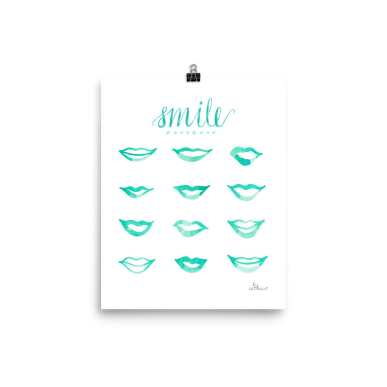aqua lips art print