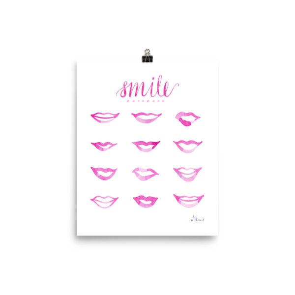 pink lips art print