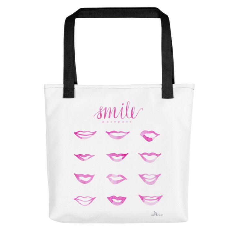 pink lips tote bag