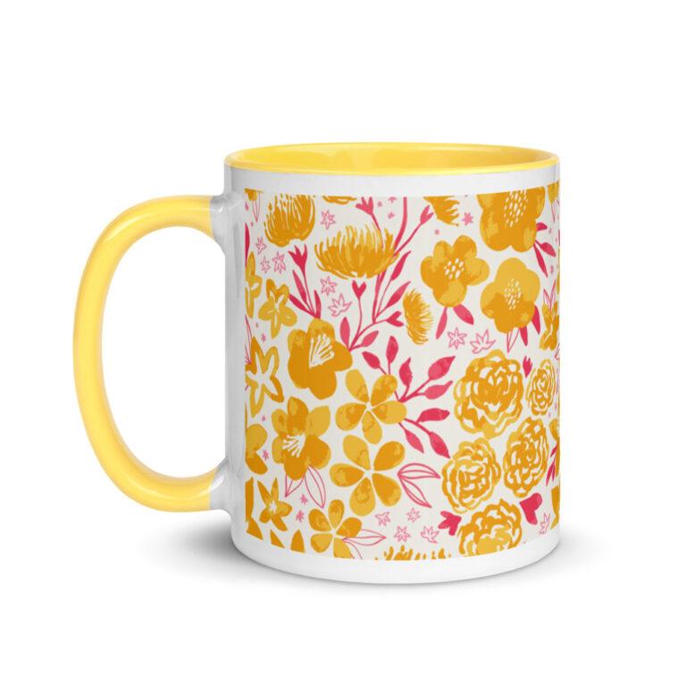yellow floral mug