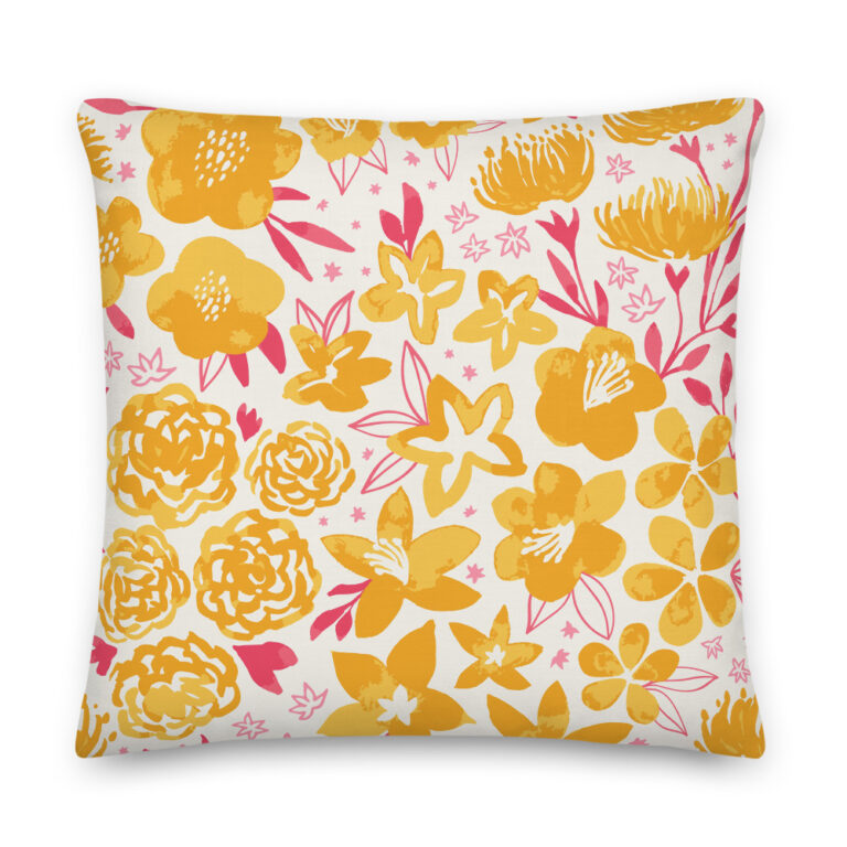 yellow floral pillow