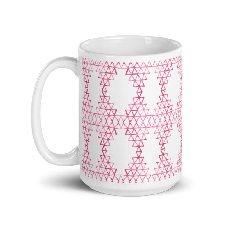 pink geometric mug