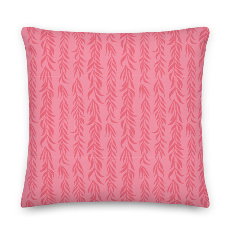pink plant pillow