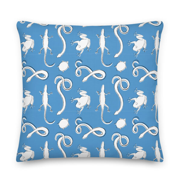 blue reptile pillow