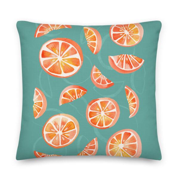 aqua orange pillow