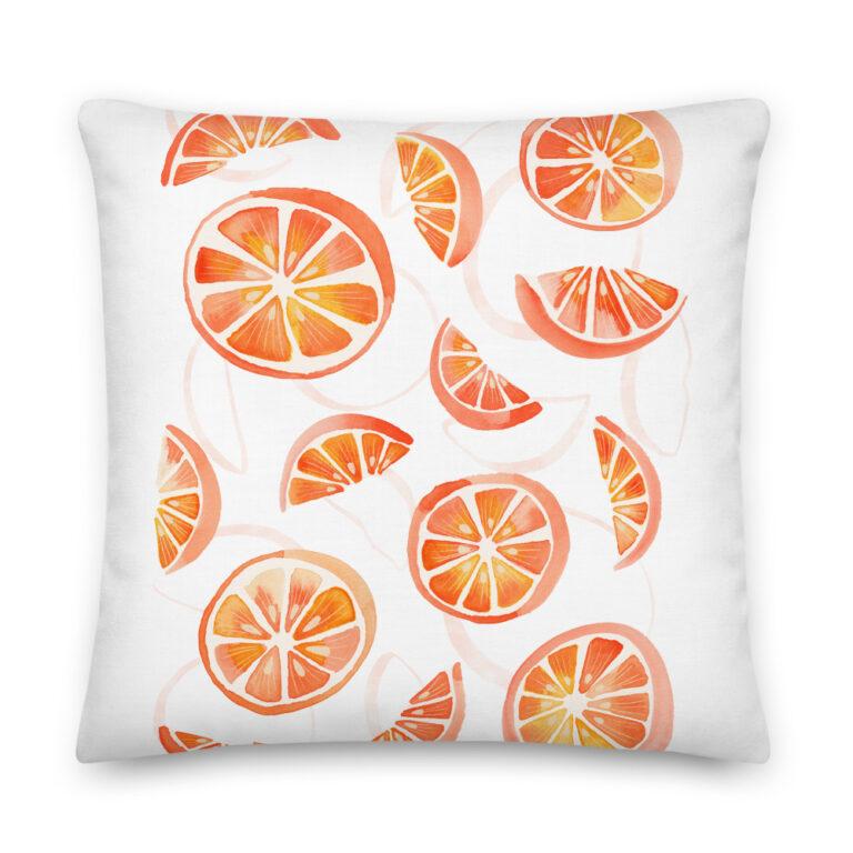 watercolor orange pillow