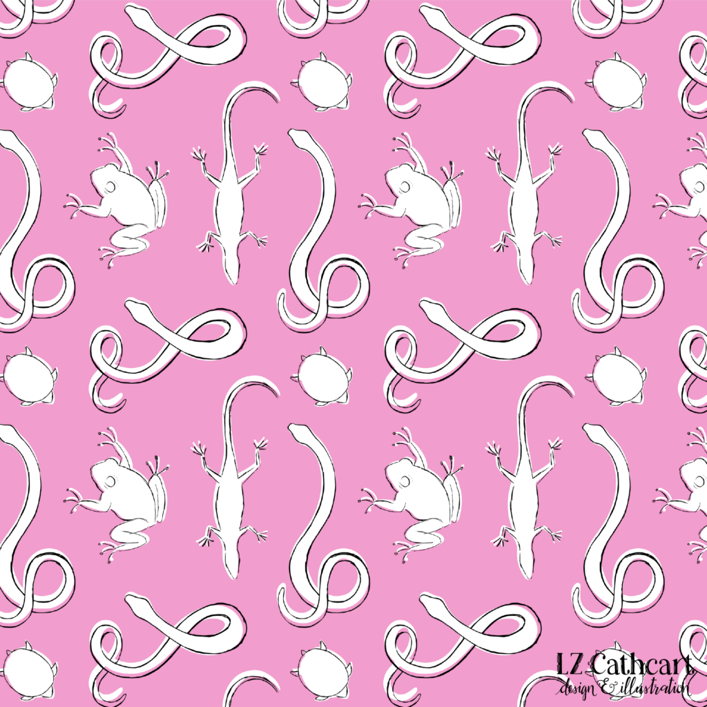 pink reptile pattern
