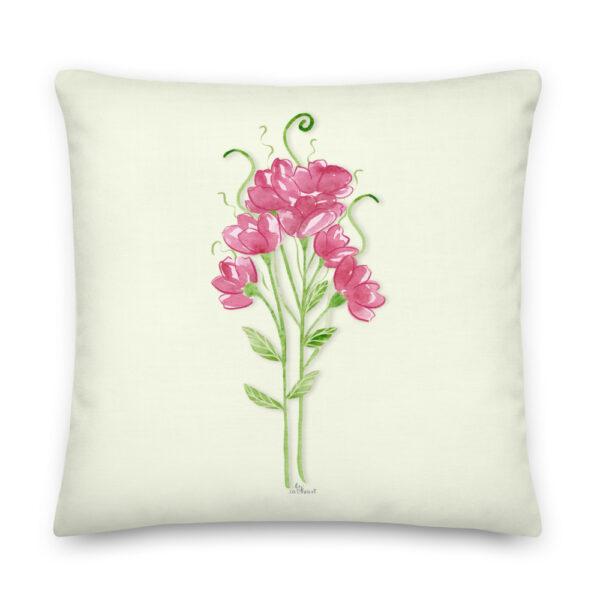 pink sweet pea pillow