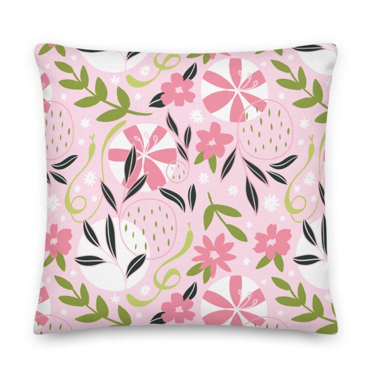 black flower snake pillow