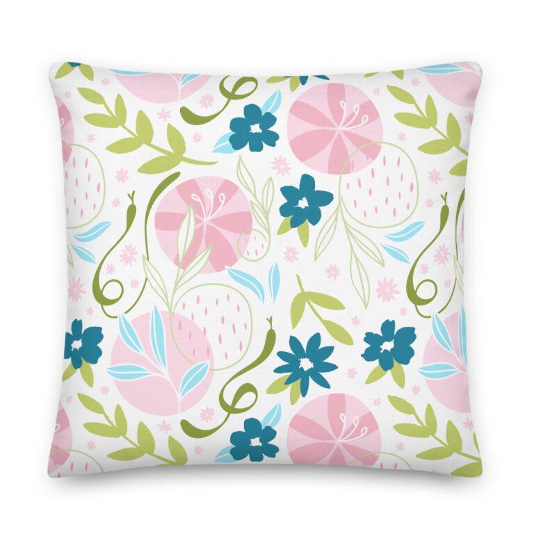 pink flower snake pillow